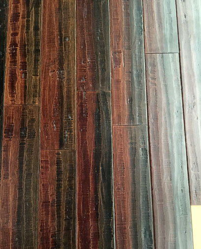 Colorful distressed strand woven bamboo flooring